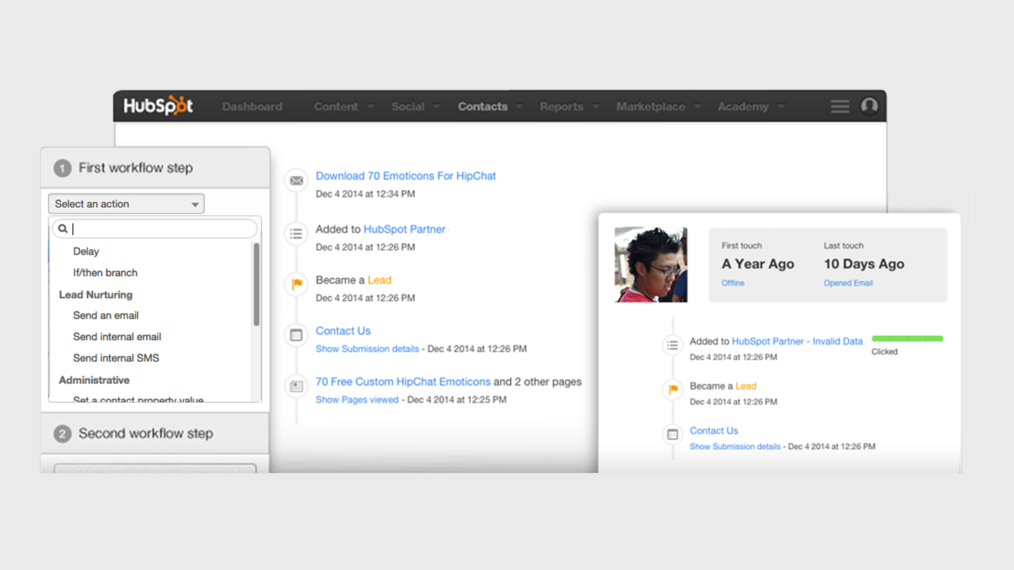 Hubspot contact records and workflows