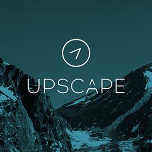 Upscape Logo on blue mountain background thumbnail