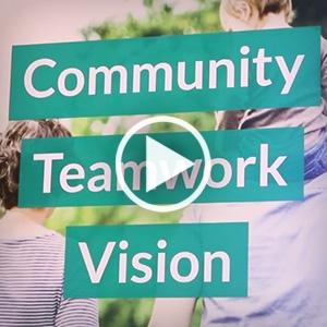 Community Teamwork Vision video play button thumbnail