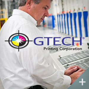 Gtech Printing logo with man on computer